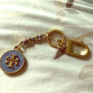 Tory Burch Mercer leather inlay keychain